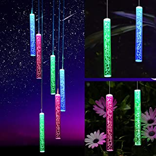 NY Solar Wind Chimes Bubble Acrylic Tube Light Color Changing LED Mobile Wind Chime Waterproof Outdoor Decorative Garden G...