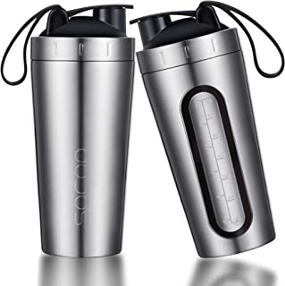 Protein Shaker Bottle with Handle Stainless Steel | Viewing Window | No Bad Smell | No Leak Gym Workout Fitness Building Supplements Shaker Cups with Clear Measurements