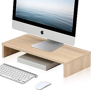 FITUEYES Computer Monitor Stand 54cm with Keyboard Storage Space fit PC/Laptop/TV Screen Riser Desktop Organizer Beige DT1...