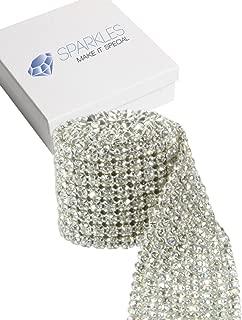 Sparkles Make It Special 8 Row Crystal Diamond Genuine SS19 Rhinestone Ribbon Trim - 1 Yard Premium Professional Wedding Cake Banding - Silver