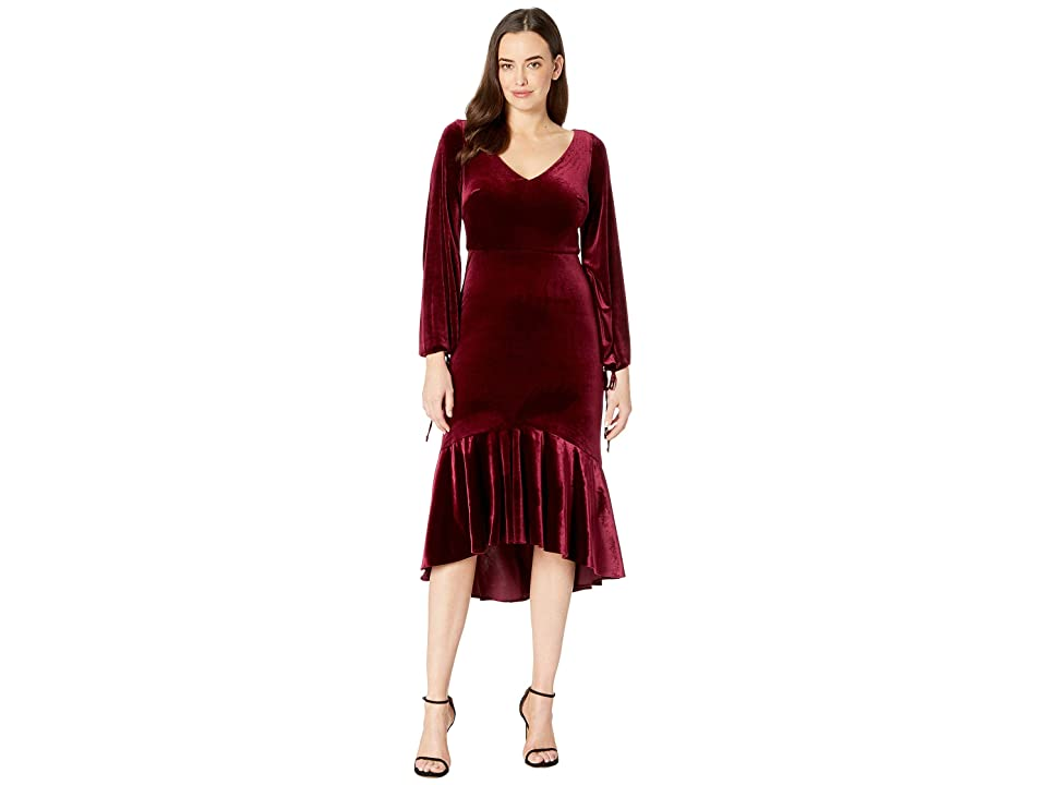 Taylor V-Neck Long Ruched Sleeve Flounce Skirt Velvet Dress (Wine) Women