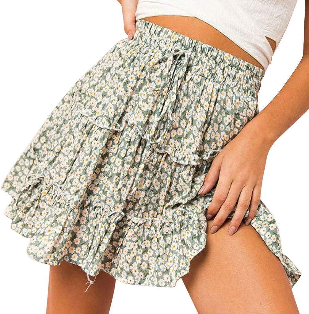 PASATO Women Elastic Band Ribbons Ruffles Floral Printed Beach Daliy Casual Party Evening Short Mini Skirt