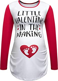 Women's Maternity Tops Valentine's Day Cute Announcement Pregnancy Long Sleeve Shirt