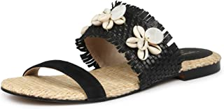 Saint G Womens Black Woven Design Leather Flats
