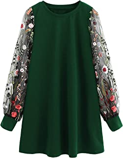 DIDK Women's Tunic Dress with Embroidered Floral Mesh Bishop Sleeve