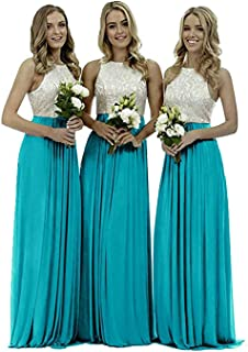 Cocaker Top Lace Bridesmaid Dress Chiffion Long Formal Evening Prom Gown A Line for Wedding Party