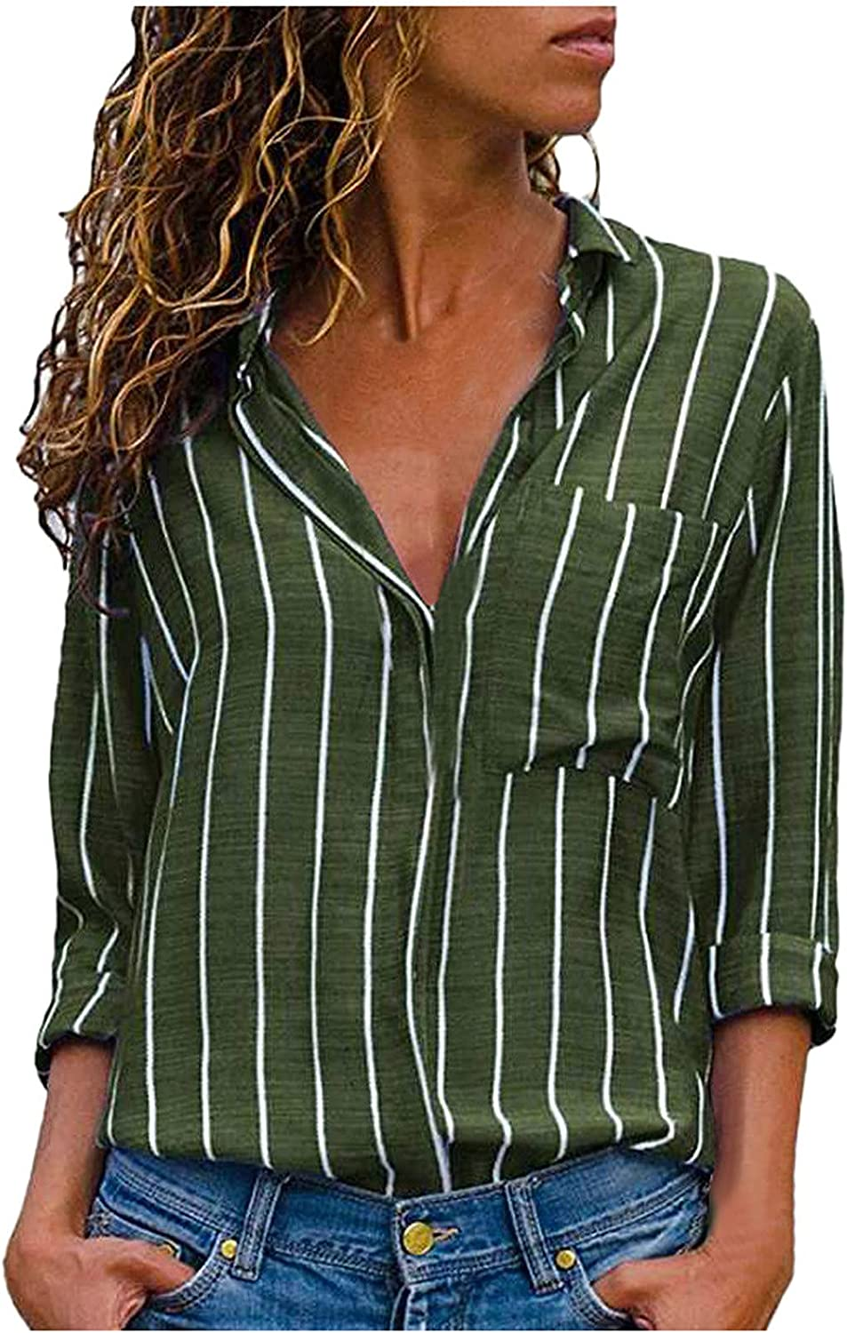 Women's Striped Blouse V Neck 3/4 Sleeve T Shirts Casual Button Down Tops Loose Pocket Tshirt Modern Fashion Tops
