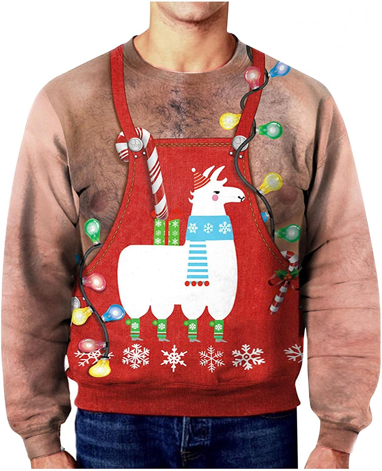 Men Women Funny Ugly Christmas Sweatshirt 3D Digital Printed Graphic Pullover Top Long Sleeve Couple Sweater Shirts for Party