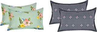 """RRC Gless Cotton Set of 4 Pillow Covers - 18"""" x 27"""", Set of 4 Cotton Printed Pillow Covers(Pista and Grey)"""