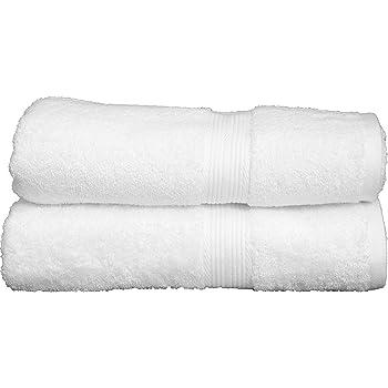 Trella 100% Cotton 2 Piece 500 GSM Large Cotton Bath Towel Set :: 140 x 70 cm (White White)