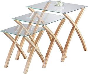 ASPECT Miami Lot de 3/3/3gigognes Table en Verre trempé, Pieds en Bois Massif–Clair/chêne, Bois Clair,