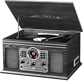 Victrola Nostalgic Classic Wood 6-in-1 Bluetooth Turntable Entertainment Center, Graphite...