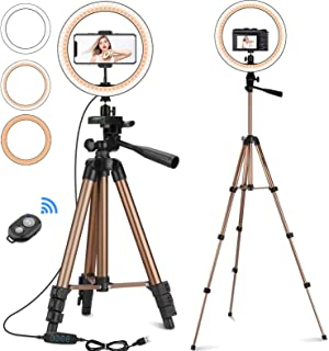 "CREUSA 10"" Selfie Ring Light with Extendable Tripod Stand & Phone Holder Dimmable Desktop LED Ringlight with Remote Shutte..."