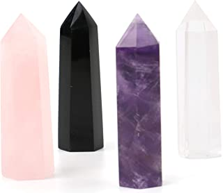 Lawei 4 Pack Natural Healing Crystal Wands - 0.6 x 2.4 inch 6 Faced Black Obsidian, Rose Quartz, Clear Quartz and Amethyst Crystal for Chakra, Reiki, Healing, Energy Work