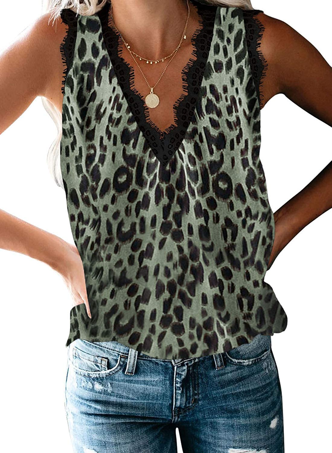 BLENCOT Women Ladies Sexy V Neck Casu Tank Trim All items free shipping Floral Tops Max 57% OFF Lace