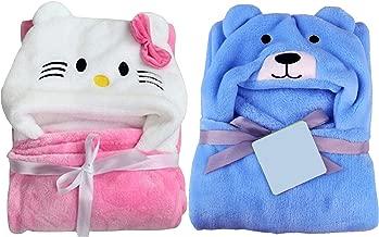 My NewBorn Baby Soft Blanket Wrapper (Pack of 2, Blue Bear/Pink Katty)