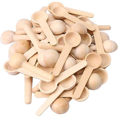 50pcs Mini Wooden Spoons Kitchen Spices Beauty SPA Salt Herbes 7.5x2.4x1.3cm