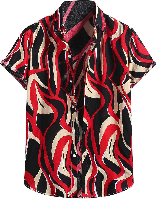 KIMOH Men's Short Sleeve Button Down Shirt Hawaiian Printed Lapel T-Shirt Casual Summer Beach Party Hippie Shirt