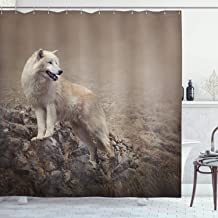 Ambesonne Animal Shower Curtain, White Wolf on Rocks at The Night Hazy Misty Weather Wildlife Nature Scenery Print, Cloth Fabric Bathroom Decor Set with Hooks, 70 Long, Taupe