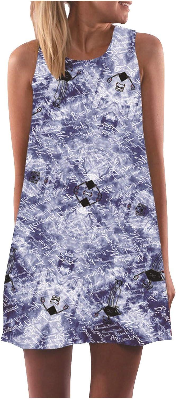 Shakumy Women's Casual Summer Tie Dye Print Tunic Tops Mini Dresses Beach Sundress Loose Party Cover Up Tank T Shirt Dress