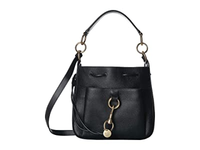 See by Chloe 11 Drawstring Leather Crossbody Bag (Black) Handbags
