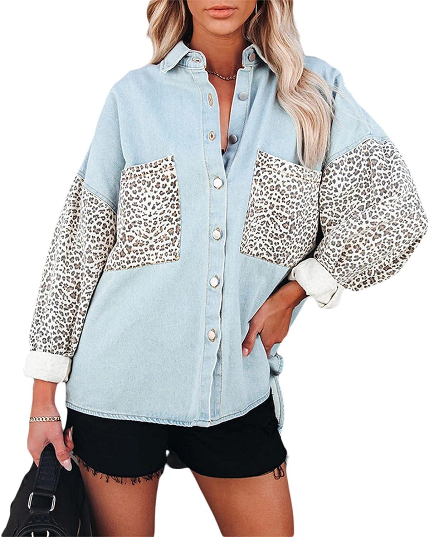 Women's Casual Denim Jackets Long Sleeves Button Down Pockets Jean Leopard Contrast Jacket Coat