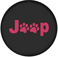 Moonet Leather Car Spare Tire Cover Pink Jeep Paw Truck SUV Camper Wheel Care Fits R16 (79cm / 31.1inch)