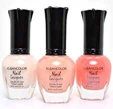 3 Kleancolor Nail Polish Sheer Pastel Nude Peach White Summer Set Lacquer + FREE EARRING