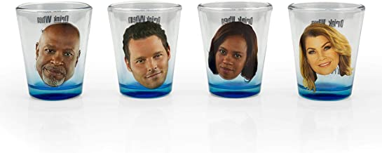 Surreal Entertainment Greys Anatomy Party Drinking Game   Set of 4 Official Collectible Character Shot Glasses   2 Ounces ...