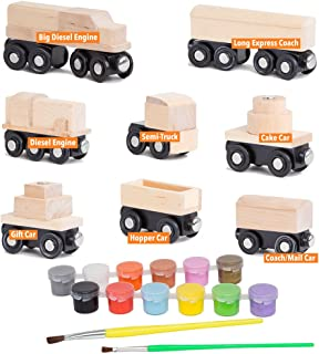Orbrium Toys 8 Unpainted Wooden Train Cars for Wooden Railway Compatible with Thomas, Chuggington, Brio, Pack of 8, 10 Pie...