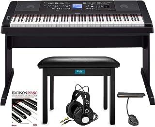 Yamaha DGX-660 88-Key Grand Piano Bundle with Knox Flip-Top Bench, LED Music Light, Knox Studio Headphones and Focus Piano Book/CD Bundle (5 Items)