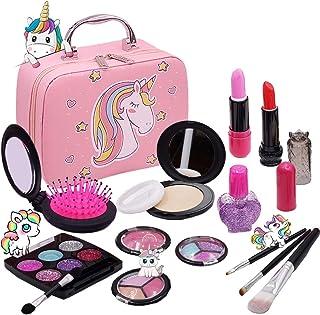 Washable Makeup Girls Unicorn Toys - Real Make Up Set Washable Make up Kit for Toddler Kids Girl...