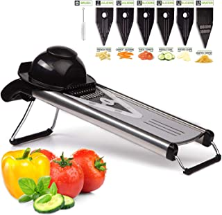 V Blade Stainless Steel Mandoline Slicer - Fruit and Food Slicer, Vegetable Cutter, Cheese Grater - Vegetable Julienne Slicer with Surgical Grade Stainless Steel Blades