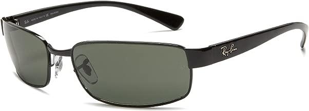 RAY-BAN RB3364 Rectangular Metal Sunglasses, Black/Polarized Green, 62 mm
