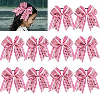 Large Glitter Cheer Bows Girls Pink White Ponytail Holders 7