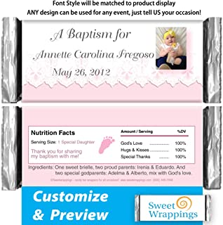 Personalized Hershey's Candy Bar Wrappers | Baby Baptism, Christening | Baby Lace Pink | Include Your Photo | (36 Wrapper Kit)