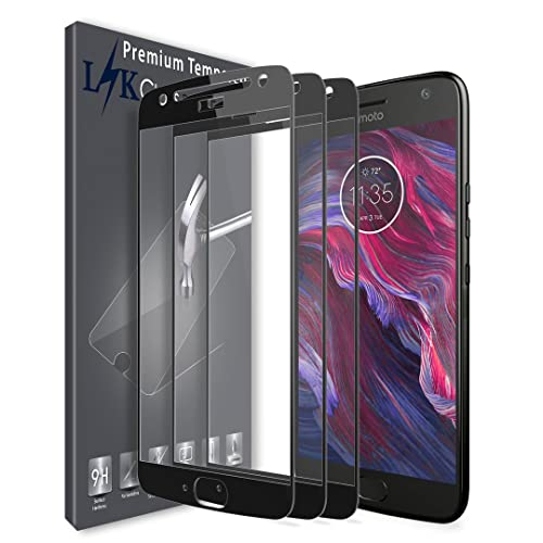 [3 Pack] LK Screen Protector for Motorola Moto X4 / Moto X (4th Generation), [Full Cover] Tempered Glass 9H Hardness, Anti Scratch (Black)