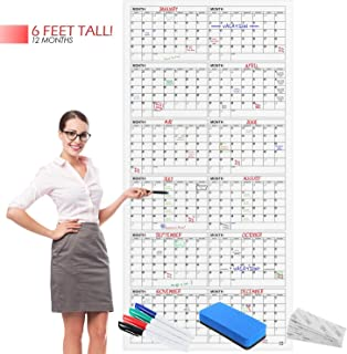 "$49 » Large Wall Calendar - 36"" X 75"" - Yearly Dry Erase Reusable Wall Planner - Giant Laminated Poster - Goal & Task Organizer ..."