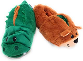 Flipazoo AS Seen On TV Slippers Bear Transforming to Alligator Children's Size, Two in One Warm & Comfy Plush Slippers