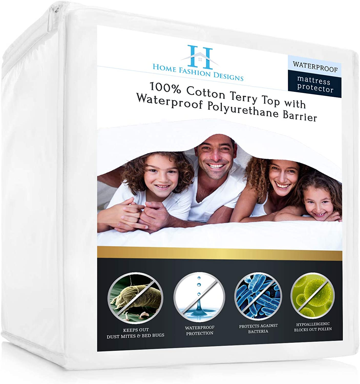 Premium Waterproof, Hypoallergenic, Breathable, Deep Pocket Fitted Mattress Predector. Lexia Collection By Home Fashion Designs Brand. (Queen)