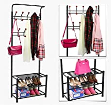 World Pride Metal Multi-purpose Clothes Coat Stand, Shoes Rack Umbrella Stand, With 18 Hanging Hooks, Max Load Capicity Up to 67.5Kg/148.8Lb, 26.7 x 12.2 x 74