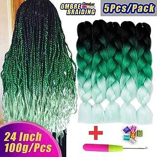 AIDUSA Ombre Colors Braiding Hair Ombre 5pcs Synthetic Braid Hair Extensions 24 Inch Three Tone Ombre Braids for Box Braids Senegal Twist Crochet Braids 100g (#47 Black to Green)
