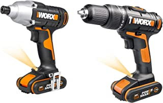 Sponsored Ad – WORX WX938 18V (20V MAX) Impact Driver and Hammer Drill Twin Pack, Black