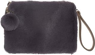 AnnaKastle Womens Soft Eco Fur Fluffy Wristlet Purse Pompom Clutch Bag