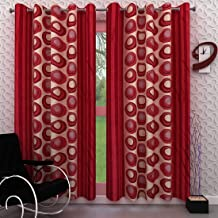 Homely Polyester Eyelet 7 ft Door Curtain-Red-Set of 2