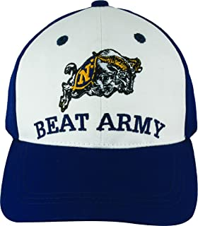 U.S. Navy Hat Embroidered with Goat and BEAT ARMY on Front and GO NAVY on Back