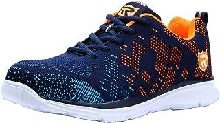 LARNMERN Zapatos de Seguridad para Hombre con Puntera de Acero Zapatillas, Ligeros y Transpirables Zapatos de Entrenamiento prevención de pinchazos LM-112 (43.5 EU, Naranja Azul)