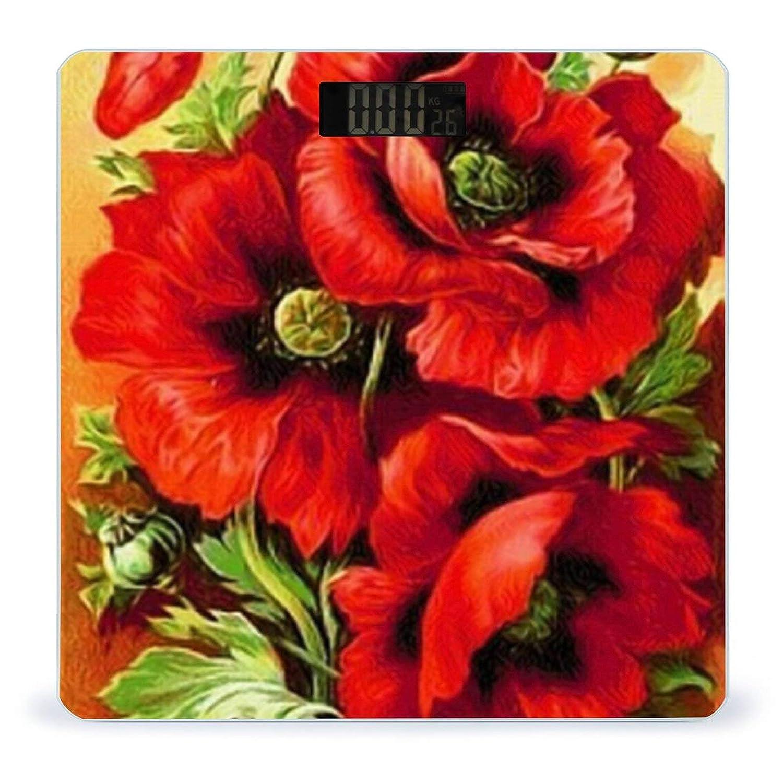 Beautiful Red Poppy FlowerWeight Body Digital Scale Max Trust 84% OFF Battery-Powe