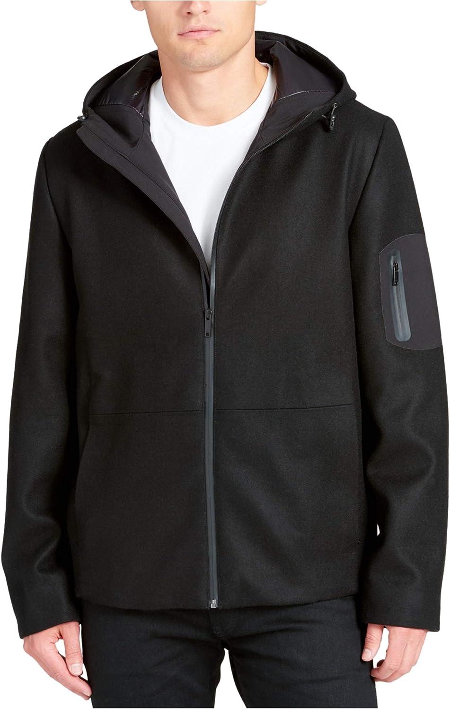 DKNY Mens Mixed-Media Coat, Black, X-Large (Regular)