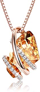 Birthstone Pendant Necklace for Women Made with Swarovski Crystals Wish Stone Lucky Jewelry Gift, Rose Gold Plated